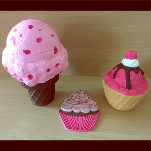 Ice cream and dessert squishies and wooden cupcake